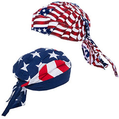 American Flag Durag - 2 Pack USA Doo Rag - Dew Rags for Men - Patriotic Skull Caps by CoverYourHair