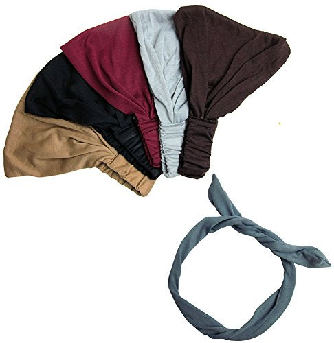 Exquisite Pack- 5 Solid Wide Headbands With Wire Headband CoverYourHair®