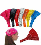 Excellent Quality Assorted Paisley Print Bandana Headbands with Elastic - CoverYourHair ®