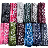 12 Pack Paisley Bandanas w/ American Flag Headband by CoverYourHair (12 Dark Assorted Paisley Bandannas , Patriotic Headband)