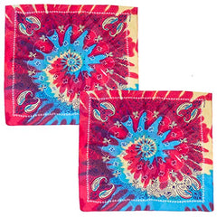 CoverYourHair Tie Dye Bandannas - 2 Pack - Paisley Bandannas - Colorful Bandanas - Hippie Accessories