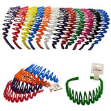 Plastic Headband with Teeth - 12 Hard Headbands - Bright Color Headbands by CoverYourHair