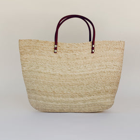 Straw Tote With Leather Handles