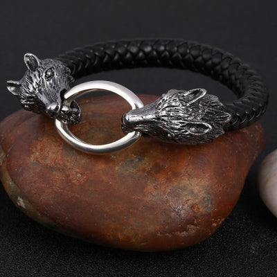Wolf Head Stainless Steel & Leather Men's Bracelet Men