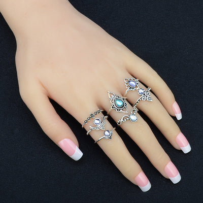 7pcs/Set Above Knuckle Silver Stack Rings
