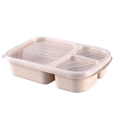 Biodegradable Wheat Straw 3 Grid Lunch Container with lid (x4 Colors)
