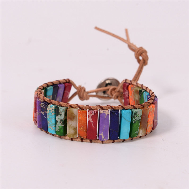 Natural Stone & Leather Wrap Chakra Positivity Bracelet