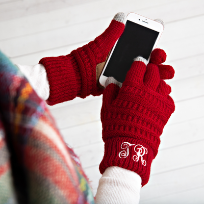 Perfect Winter Gift - Personalized Monogram Gloves with touchscreen thumb & finger