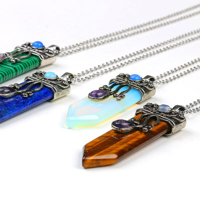 Natural Healing Crystals Amethyst labradorite fluorite opal necklace & Sword Stone Pendant
