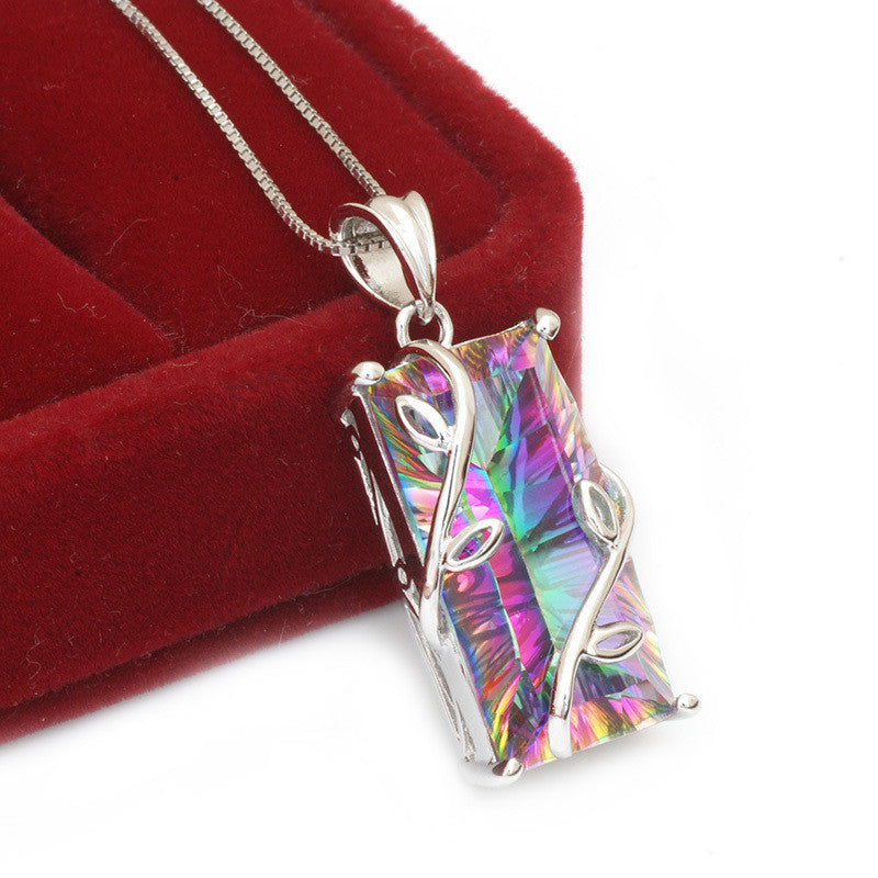 Genuine Natural Fire Rainbow Mystic Topaz Pendant