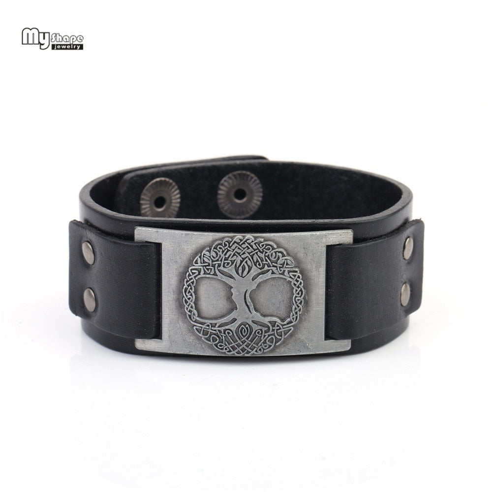 Tree of Life Genuine Leather Strap Bracelet Bangle