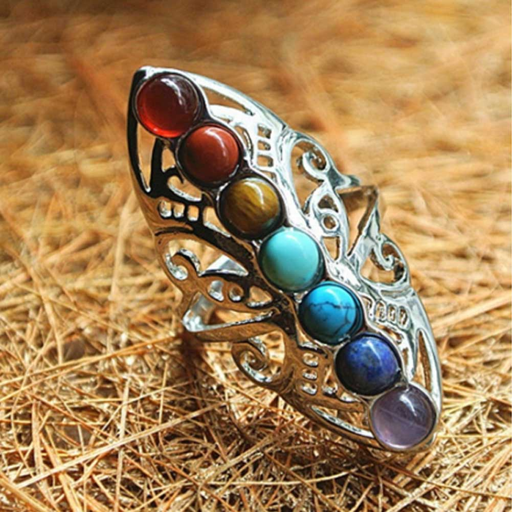 Adjustable Silver Plated Natural Stones 7 Chakra Healing Ring