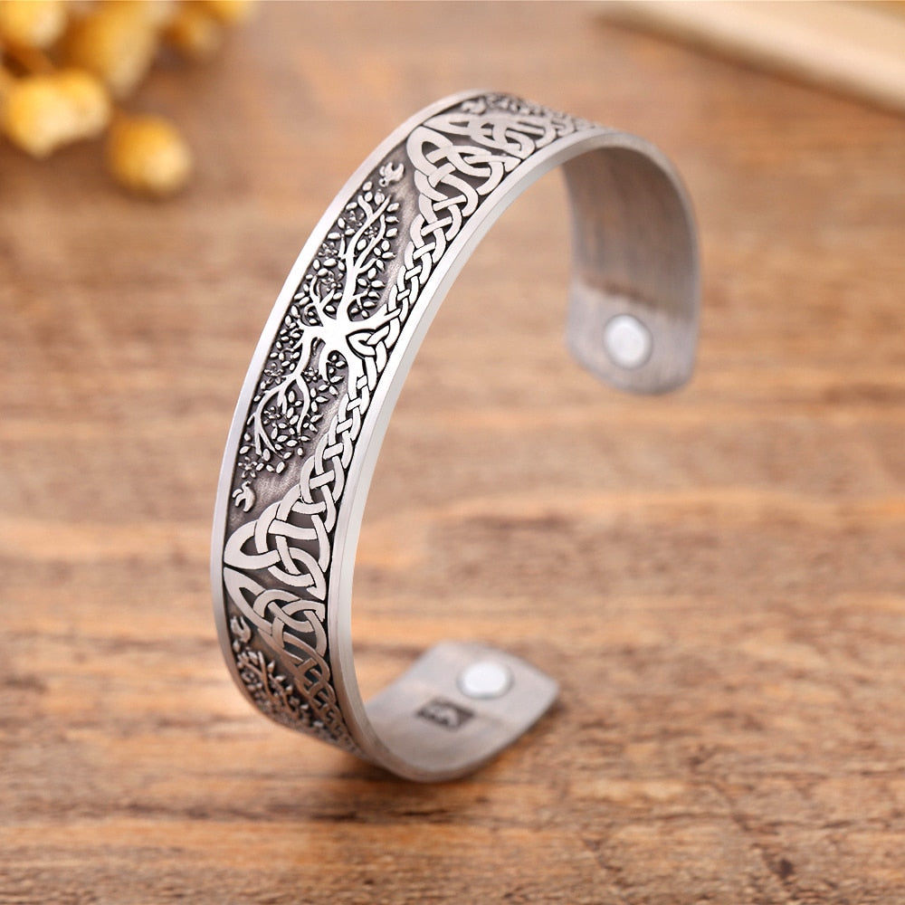 Silver Plated Tree of Life Engraved Bangle
