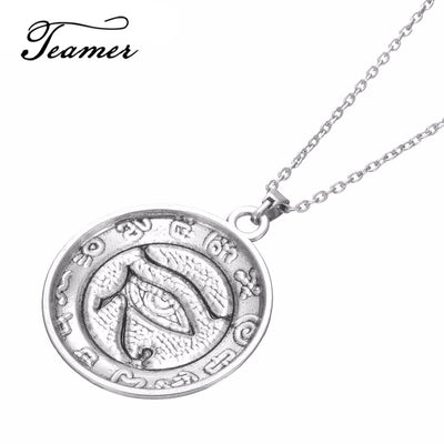 Silver Egyptian Eye Of Horus Pendant Necklace