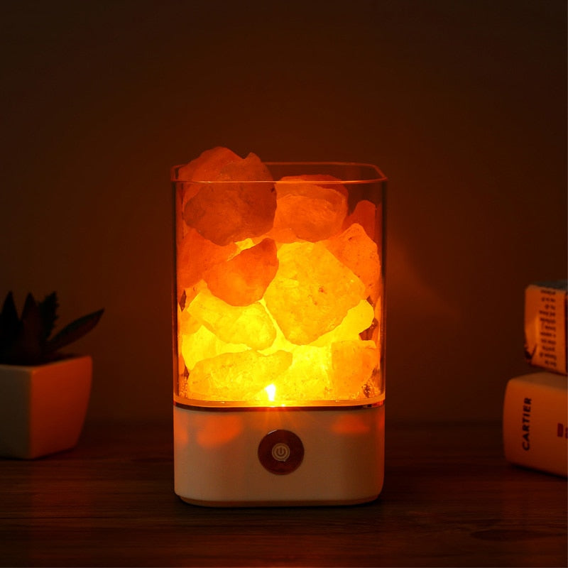 USB Powered Natural Himalayan Salt lamp Air Purifier with 5 Color Changing LED