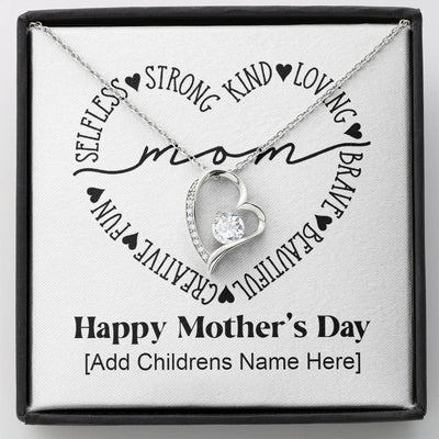 Mother's Day Present From Children Forever Love Heart Necklace