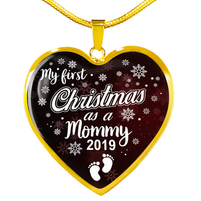 'My First Christmas as a Mommy 2019' - Heart Pendant in silver or gold
