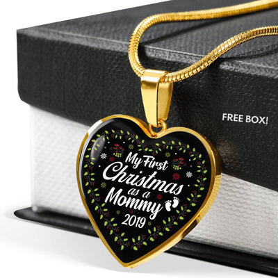 'Mommy's First Christmas' Heart Pendant -  Gold or Silver
