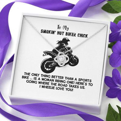 To My Smokin Hot Biker Chick Necklace With Personalized Card