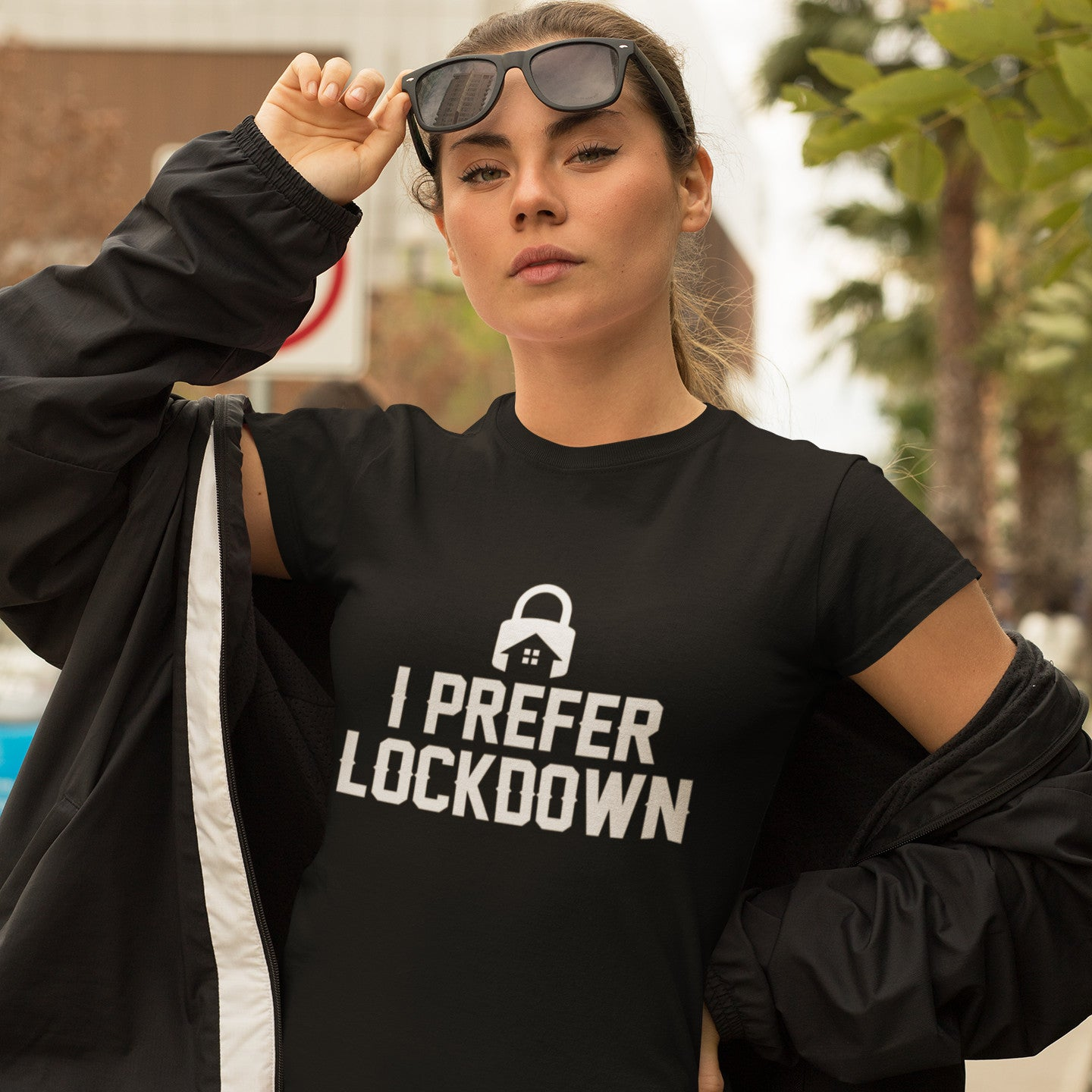 'I Prefer Lockdown' Black Unisex T-shirt, 8 Sizes