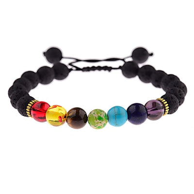 7 Chakras Healing Bracelet in Lava Stones Essential Oil Diffuser