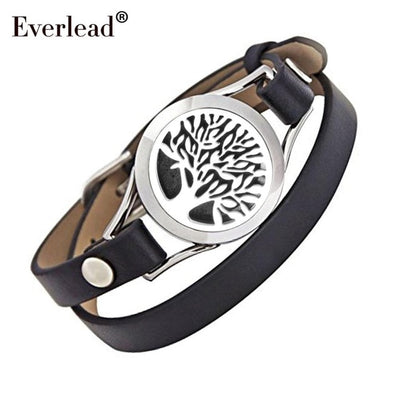 Tree of life Essential Oil Diffuser Bracelet with Real Leather Strap