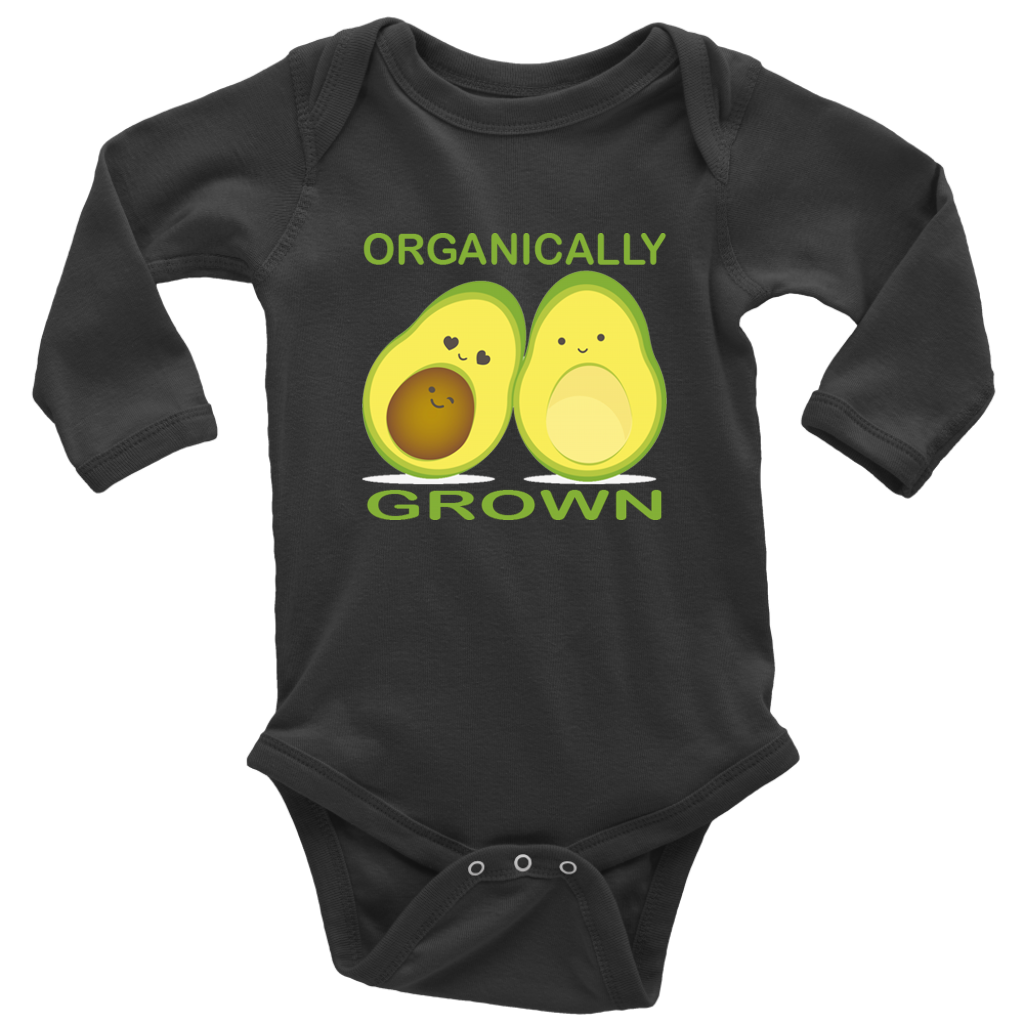 'Organically Grown' Long Sleeve Baby Bodysuit