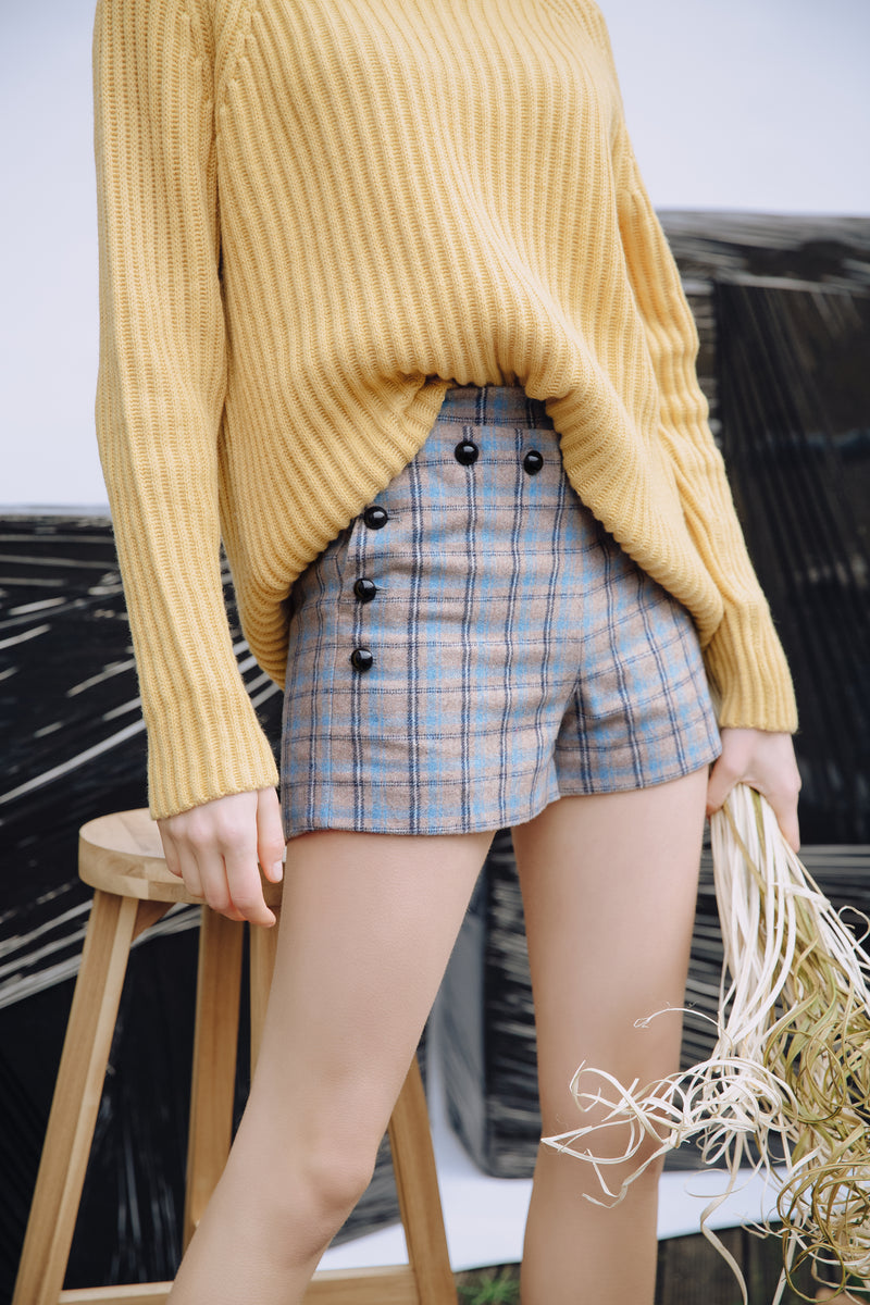 Wool Blend Button Shorts