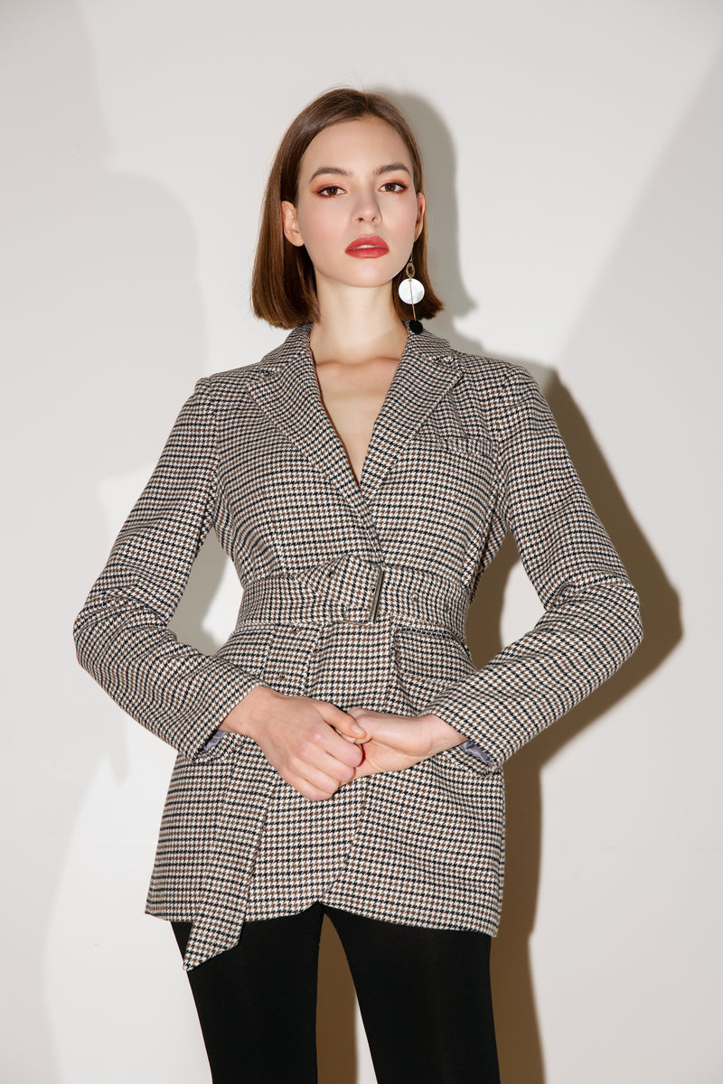 Belted Plaid Wool Coat