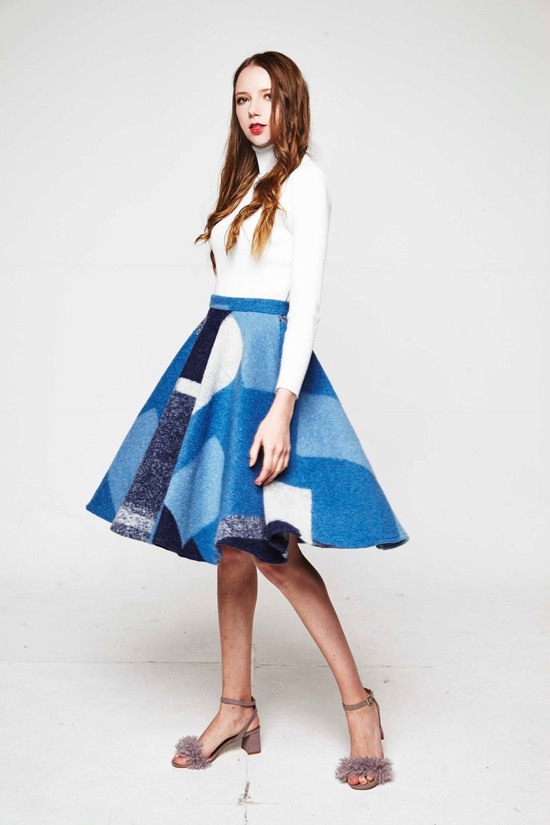 Blue-colorful Check Skirt