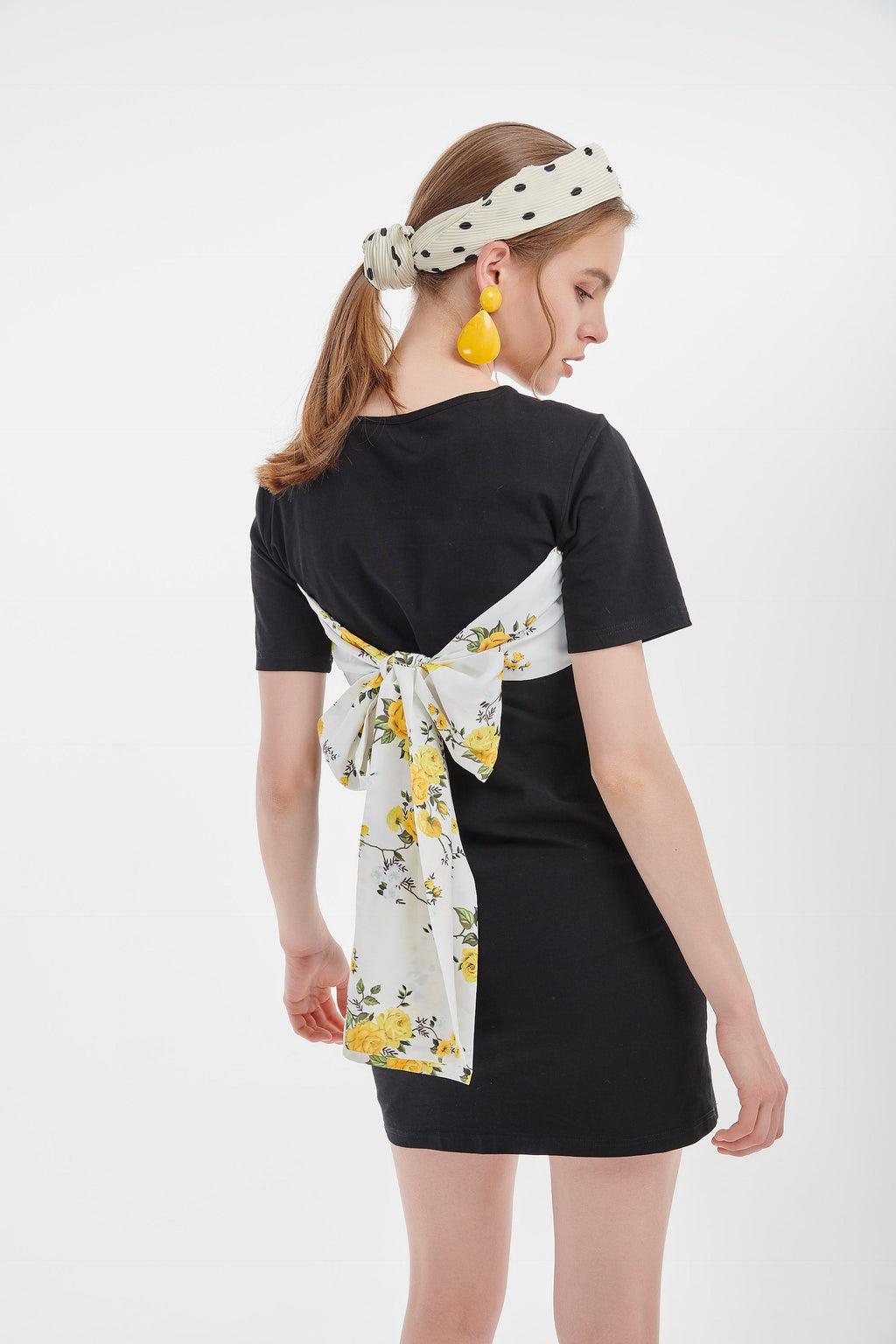 Floral Bandage Black Dress