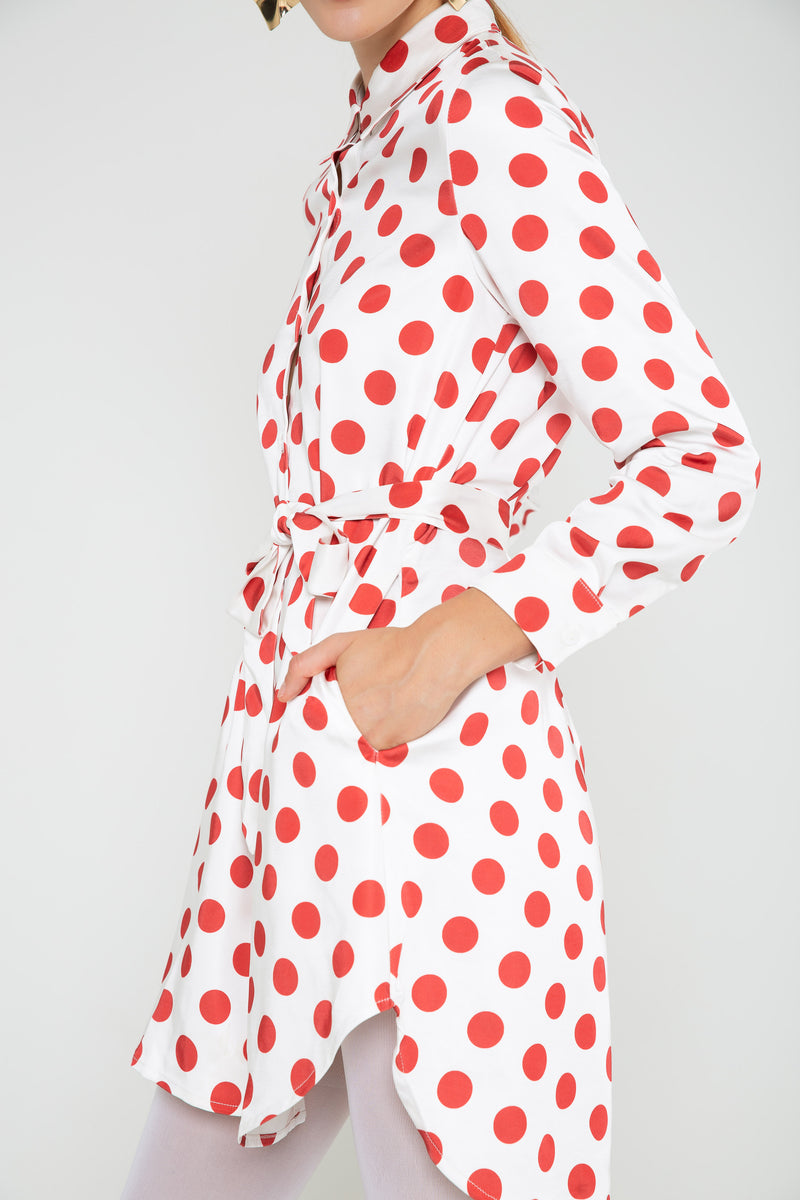 Dots Cotton Tie-waist Shirt Dress