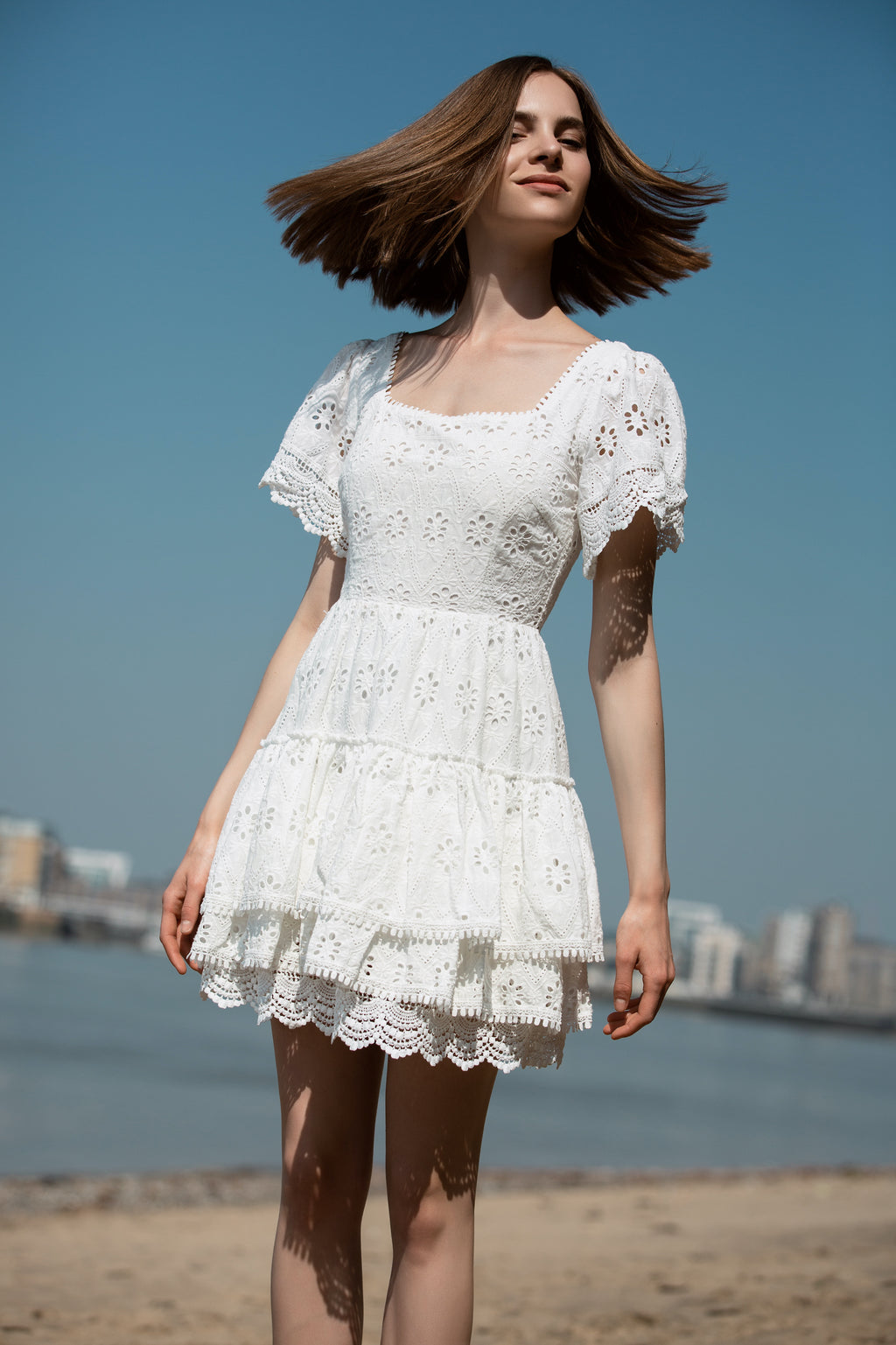 Square Neck Lace Mini Dress