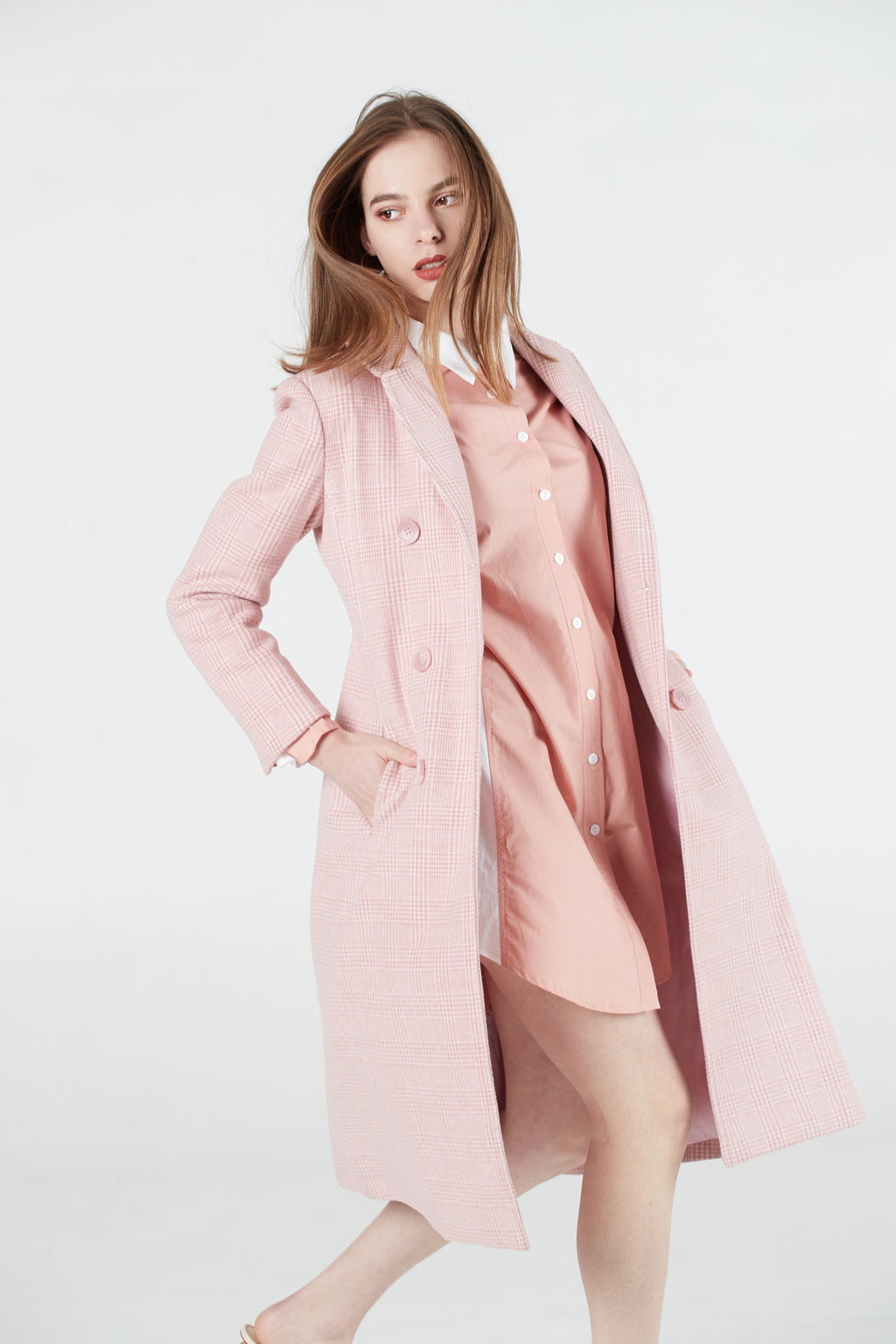 Pink Check Long Coat