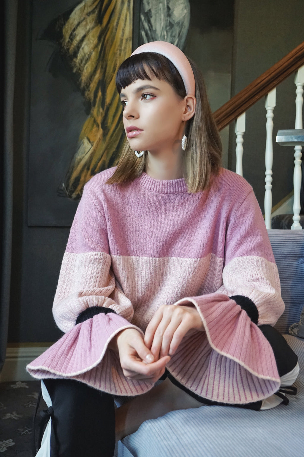 Flare Sleeve Wool Blend Sweater (Pink)