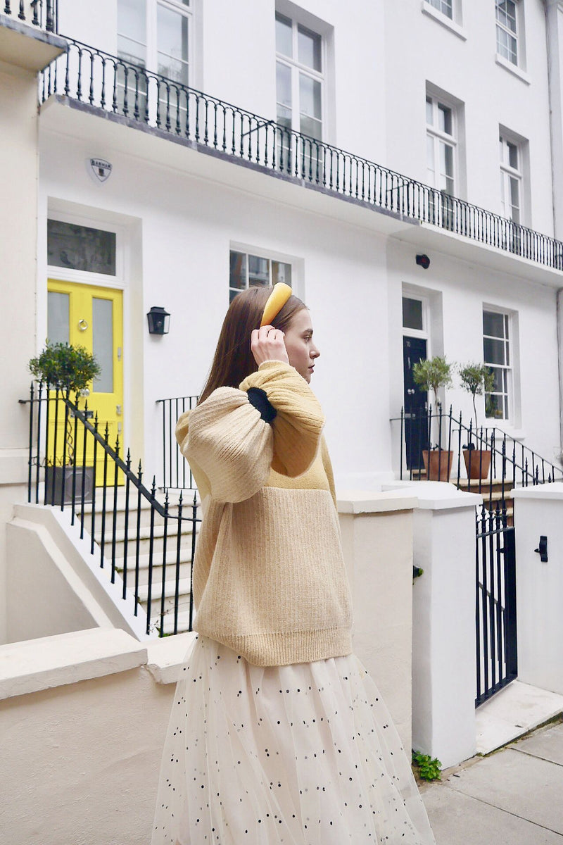Flare Sleeve Wool Blend Sweater (Yellow)
