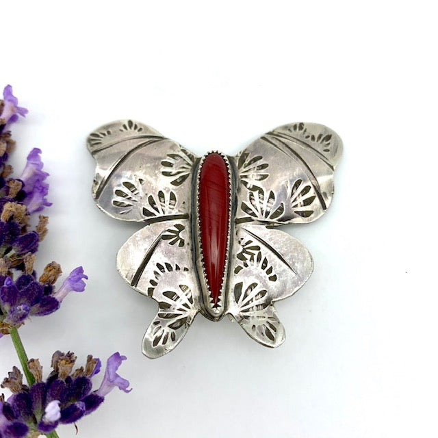 Butterfly Brooch in Rosarita