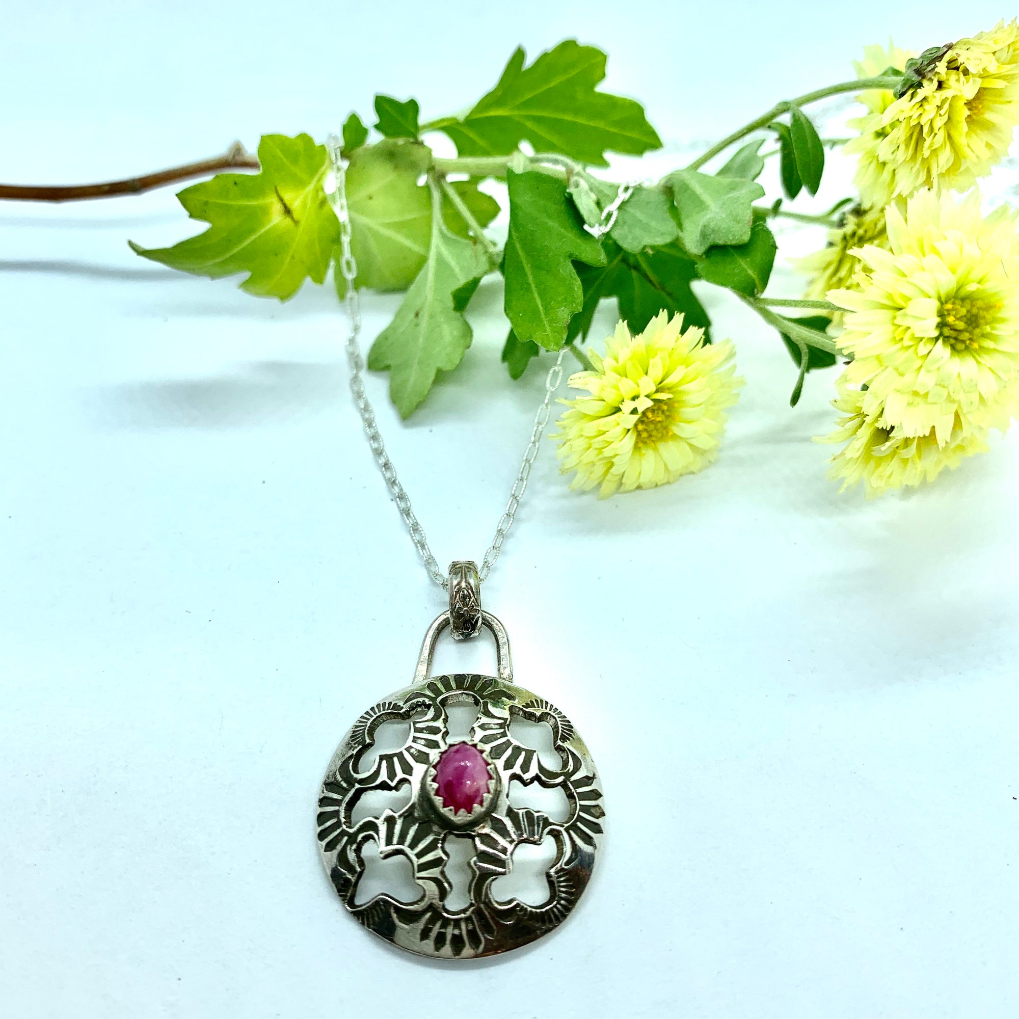 Ruby Leather and Lace Stevie Nicks Necklace in Sterling