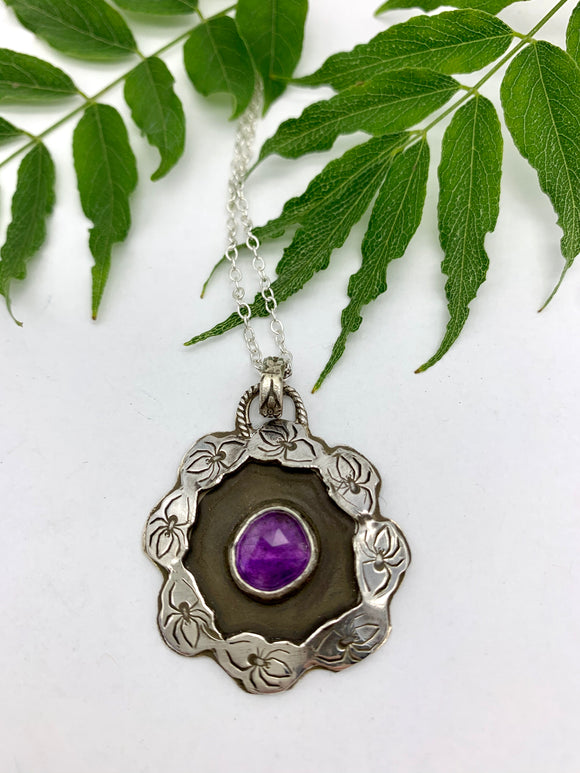 Amethyst Domed Pollinator Spider Necklace