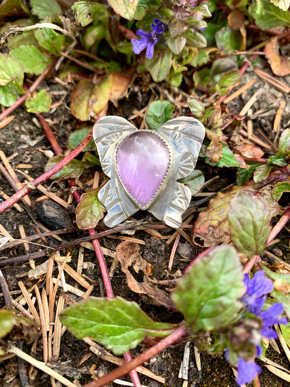 Butterfly Brooch in Lavender Amethyst
