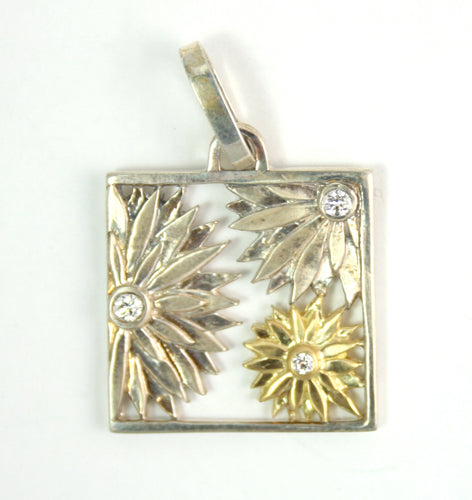 American Metaphor Box Pendant, Sterling Silver, 18K Gold, Diamonds