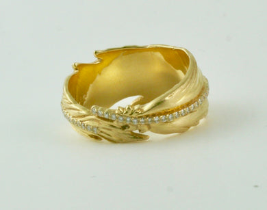 Feather Ring in 18K gold and Diamonds