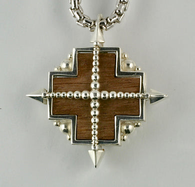 True North Pendant in Sterling Silver, inlaid American Walnut, 20mm