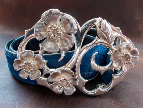 Four Wild Roses Sterling Silver Belt Buckle