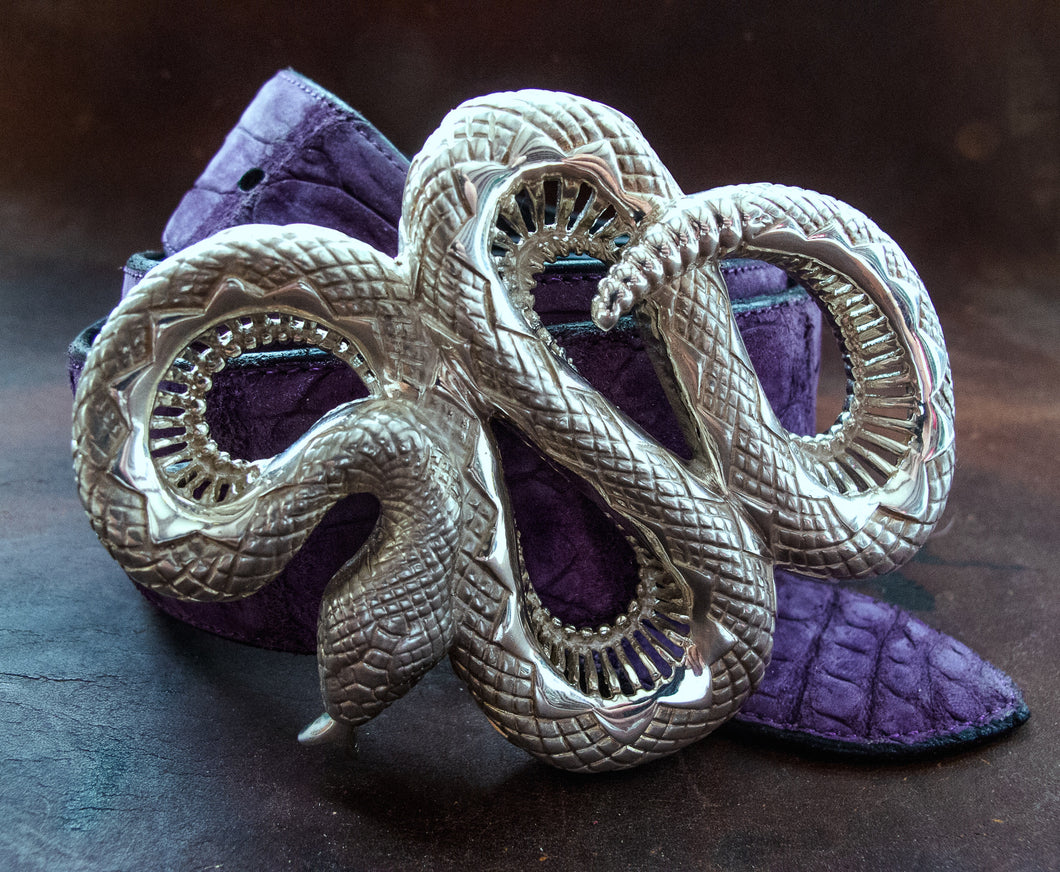 Rattlesnake Sterling Silver Belt Buckle