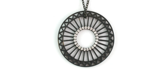 Theorem Wheel Pendant, 34mm, oxidized sterling