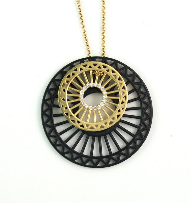 Theorem Wheel Double Pendant Set,  21mm with 34mm black wheel