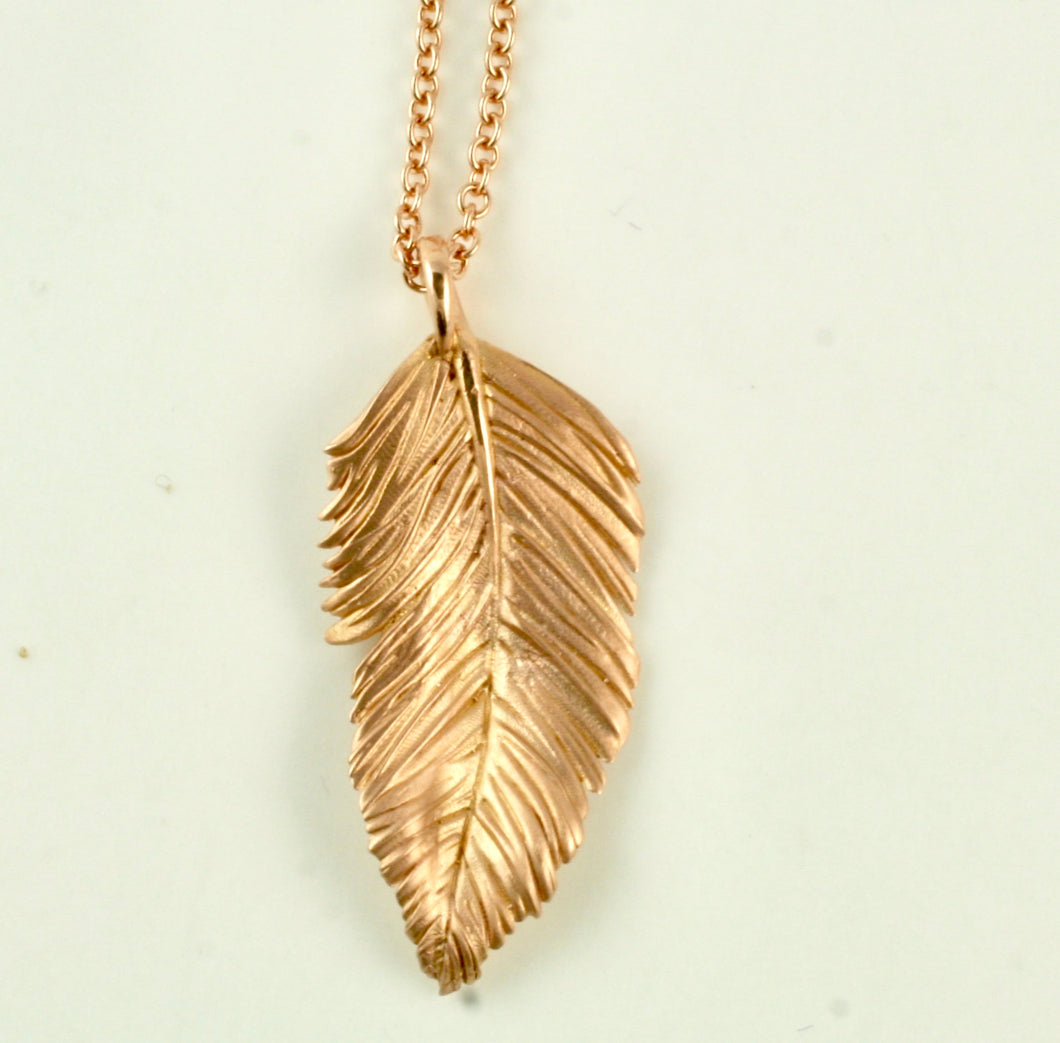 Feather Pendant in 14K Rose Gold