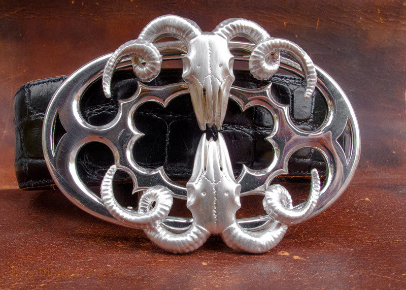 Double Ram Skull Sterling Silver Belt Buckle