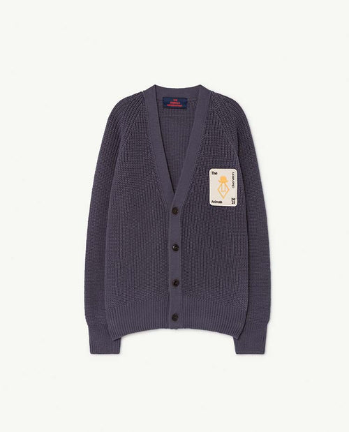 Plain Racoon Kids Cardigan Navy Blue
